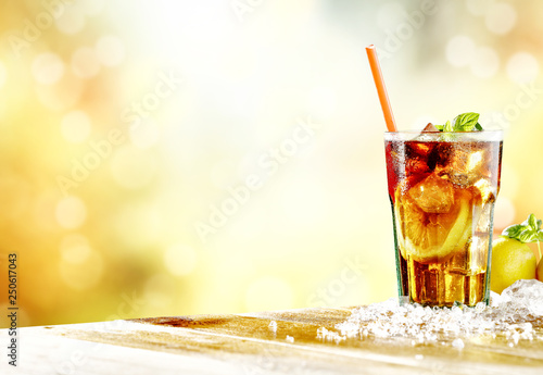 Leinwandbild Motiv Fresh cold ice tea and summer time
