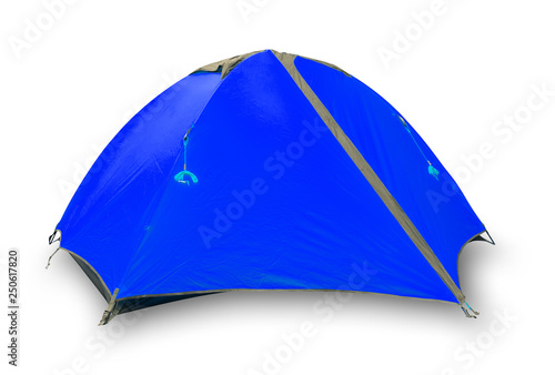 Leinwanddruck Bild Blue closed tourist tent