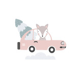 Fox in car with Christmas tree