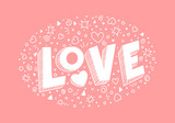 Vector cute background with word LOVE