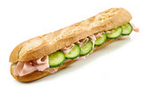 Baguette sandwich with ham and cucumber