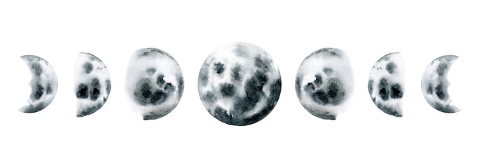 watercolor illustration of moon phase. Galaxy illustration moons. Set of watercolor moons isolated on white background © Kate