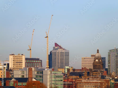 A Long Panoramic View Of Leeds Showing The Town Hall Offices Apartments And Skysers With Construction