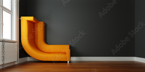 Leinwanddruck Bild Sofa an Wand gebogen als Lösung für Platzproblem