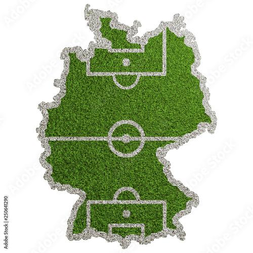 canvas print picture Karte von Deutschland als Fußball Spielfeld