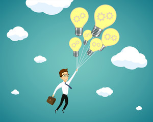 Businessman flying on light bulbs. Creativity and development in business.