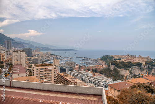 Montecarlo, France. Aerial city view from Exotic Gardens - 250650446