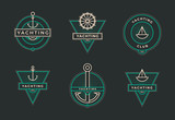 Yachting club logo set. Yachting, yahct club logo set with boad, sail and. Yacht sport. Vector illustration.