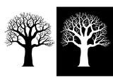 Tree silhouette. Oak. baobab