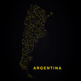 Argentina map of golden glitters on black background. Modern element geography.