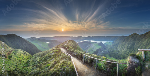 Leinwandbild Motiv Mountain landscape Ponta Delgada island, Azores Portugal