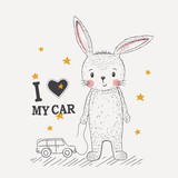 Cute little rabbit with toy car