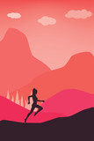 Active lifestyle Concept - Running Women in Nature Pastel Color Vector Template