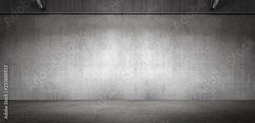 Leinwanddruck Bild Wide Modern Subtle Exposed Concrete Wall Panoramic Garage Room Background