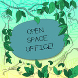 Text sign showing Open Space Office. Conceptual photo minimizes use of small enclosed rooms as private offices Tree Branches Scattered with Leaves Surrounding Blank Color Text Space