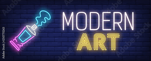 Modern art neon text with pen paint tube © RedlineVector