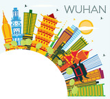 Wuhan China City Skyline with Color Buildings, Blue Sky and Copy Space.