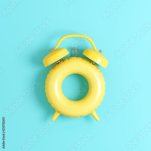 Clock ring floating on pastel blue background. Summer time concept. 3d rendering © aanbetta