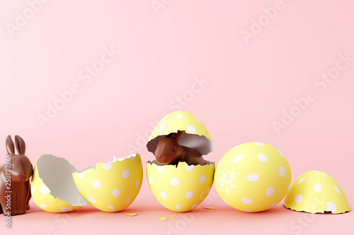 Easter chocolate bunny with yellow egg on pastel pink background. 3d rendering © aanbetta