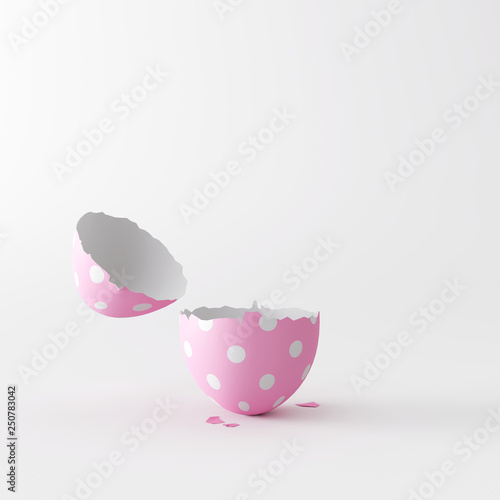 Open Easter egg on white bright background. Minimal concept. 3d rendering © aanbetta
