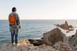 Leinwanddruck Bild - Man exploring Spanish coastline, Cabo de Gata - Nijar Natural Park, Spain