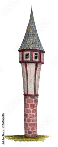 Colored pencils drawing house -
