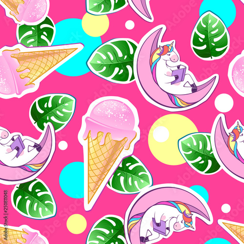 obraz PCV Summer seamless pattern with unicorn and ice cream. Zine Culture style summer background