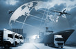 Quadro Abstract image of the world logistics, there are world map background and container truck, ship in port and airplane