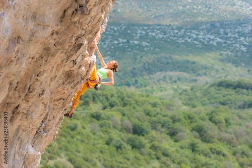 Female sport climbing