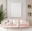 Leinwanddruck Bild - Mock up poster in warm home interior background, springtime, 3d render