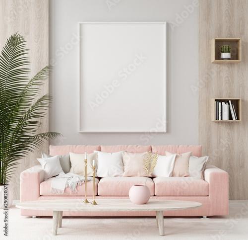 Leinwanddruck Bild Mock up poster in warm home interior background, springtime, 3d render