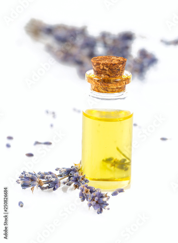 lavender oil isolated on white - 250826684