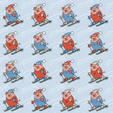 Seamless pattern with different pigs on skis and trees