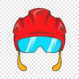 Red hockey helmet with glass visor icon in cartoon style on a background for any web design