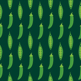 Cute cartoon vector seamless pattern backgound with green peas pods. - 250844278