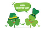Couple of cute clover, shamrock cartoon characters smiling, having fun in green leprechaun hats and wishing Happy St. Patrick's Day. - 250844293