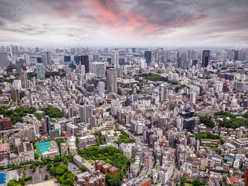 mata magnetyczna aerial view of Tokyo city sprawl, Japan