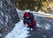 Tween girl making snowball