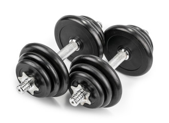 dumbbells isolated white background © azure