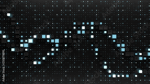 3d render digital background with abstract graph among grid pattern. Background for digital, blockchain or artificial intelligence theme presentation.