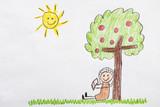 Kids Drawing Newton Apple