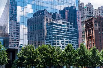Skyscraper reflected in Manhattan in New York City, USA