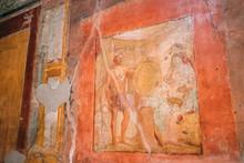 "Постер, картина, фотообои ""Pompeii, Italy. Ancient Frescoes In Wall Of Old Building"""