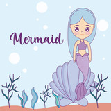cute mermaid with seashell in the sea
