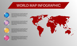 World map infographic, With Shiney Button, Used For Website, Flyer templates