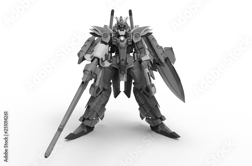 3d rendering of a mech standing on a isolated background © mudeva