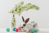 Rabbit and flowers in a vase on a white background