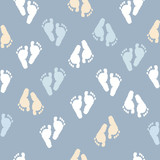 Baby foot prints baby shower seamless blue background pattern