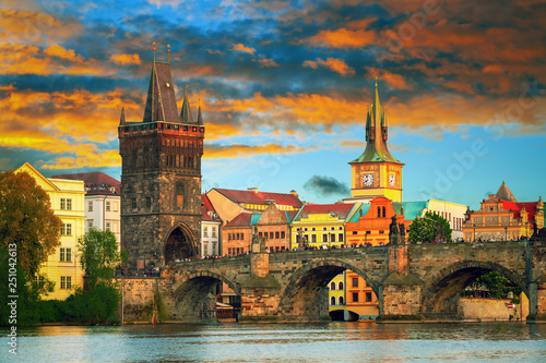 obraz lub plakat Scenic view on Vltava river and historical center of Prague,buildings and landmarks of old town, Prague, Czech Republic