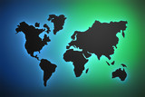 Silhouette contour of world map with gradinet colored background in green and blue color. 3d illustration.